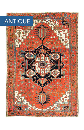 Antique Persian Heriz Serapi Rug Circa 1900