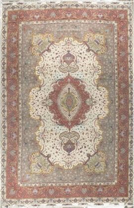 Fine Tabriz Wool and Silk Persian Rug Circa 1980.