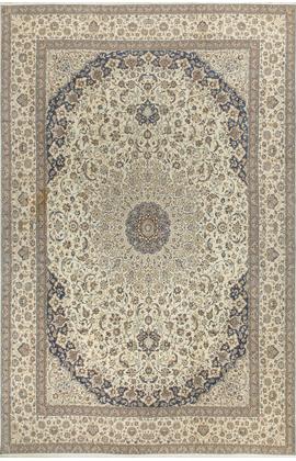 Fine Nain Vintage Persian Wool & Silk Rug Circa 1960