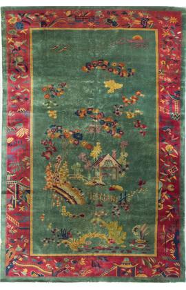 Vintage Nichols Chinese Pictorial Rug.Circa 1920