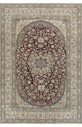Vintage Persian Wool & Silk Nain Circa 1960.