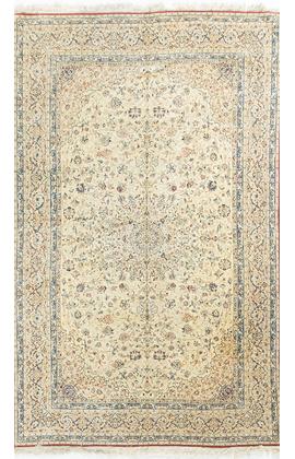 Vintage Persian Wool & Silk Nain Circa 1950