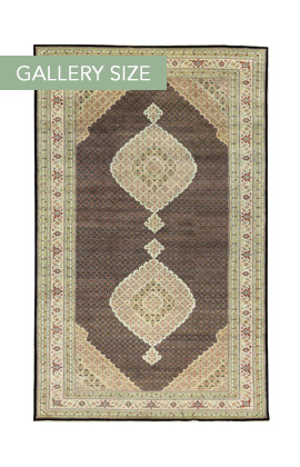 Tabriz Mahi Black/Ivory Wool With Viscose  Outline