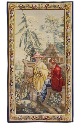 A French  Aubusson style Chinoiserie Tapestry circa 1830.