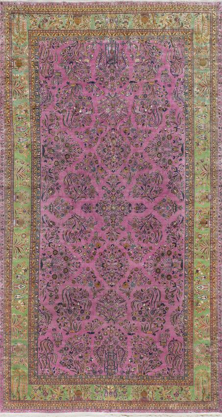 Antique Manchester Kashan Rug Circa 1900