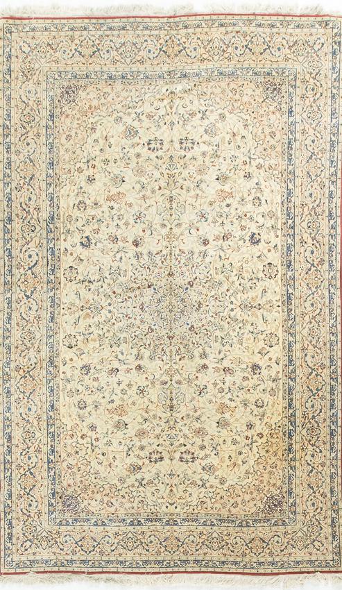 Vintage Persian Wool & Silk Nain Rug