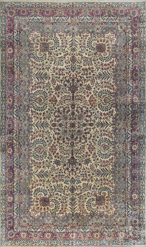 Vintage Persian Kirman Rug Circa 1940