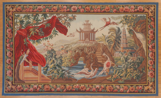 Recreation of an18th century Aubusson Chinoiserie Tapestry