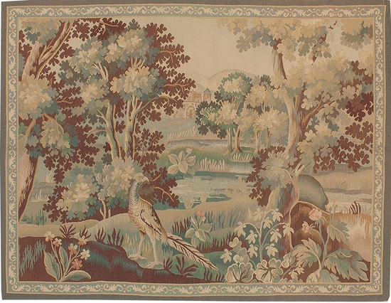 Recreation of an 18th Century Aubusson Design Verdure Tapestry