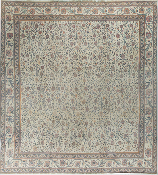 Antique Cotton Agra Rug Circa 1880