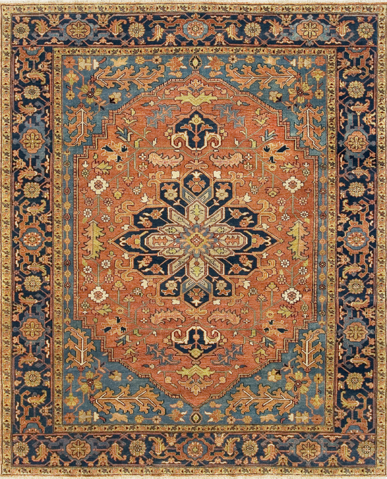 Antique Serapi Collection. Red/Blue