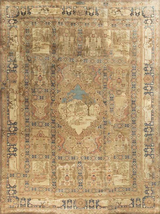 Antique Persian Garden Design  Tabriz Circa 1890