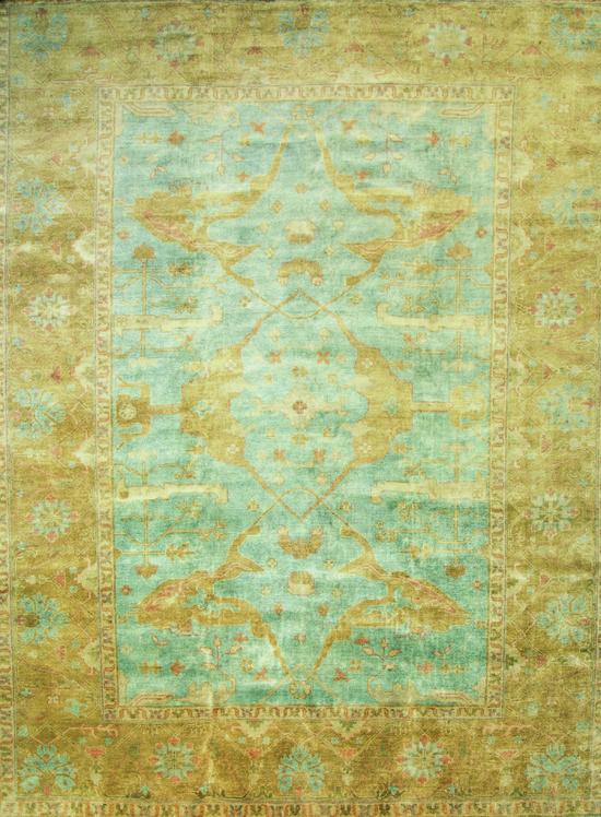 Oushak. Light Blue/Gold