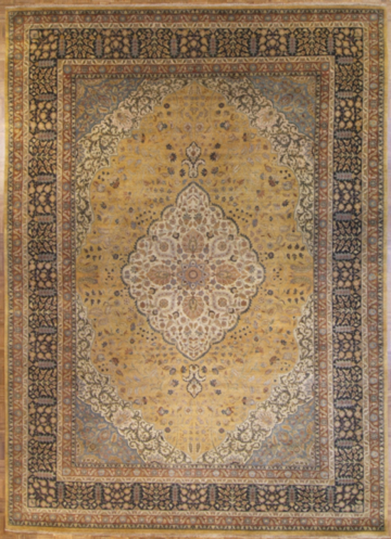 Fine Tabriz. Gold/Black