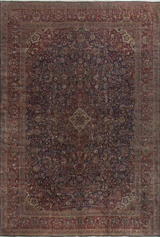 Vintage  Persian Kashan Rug Circa 1920.