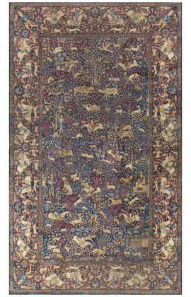 Antique Pictorial Kirman Rug Circa 1890
