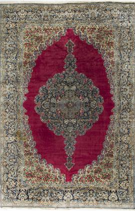 Vintage Persian Kirman Rug Circa 1950