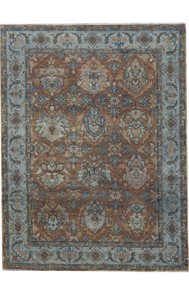 ANTIQUE SULTANABAD KIRMS RUST / BLUE