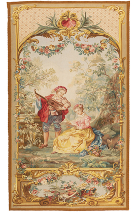 'Courtisans au Parc'  French 18th Century Style Tapestry