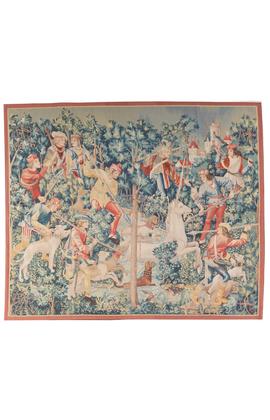 15th century Gothic Tournai design Medieval Unicorn Hunting Scene