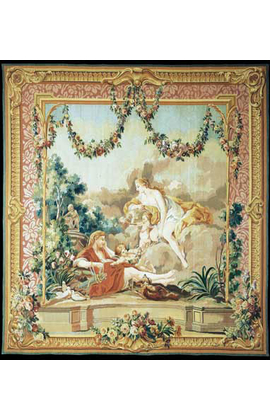 Recreation of a romantic scene after a Boucher painting