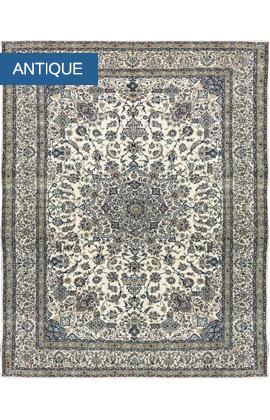 Vintage  Persian Fine Wool & Silk Nain Rug