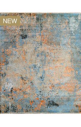 CANVAS ART W /SILK C2364 GREY / BLUE
