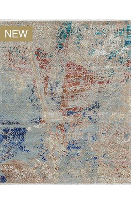CANVAS ART W /SILK C1411 CHARCOAL / BLUE