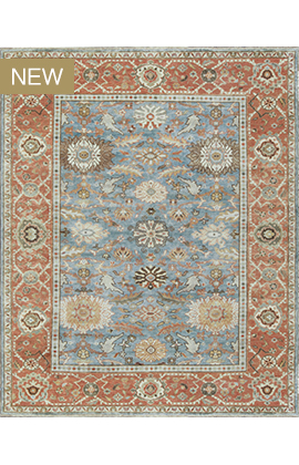 ANTIQUE SULTANABAD ANSU MAH25 Light Blue Rust